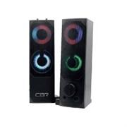 (1019790) CBR CMS 514L Black, Акустическая система 2.0, питание USB, 2х3 Вт (6 Вт RMS), пластик, RGB-подсветка, конструкция-транформер, 3.5 мм лин. стереовход, регул. громк., длина кабеля 1,3 м, цвет чёрный
