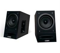 (1019792) CBR CMS 590 Black, Акустическая система 2.0, питание 220 В, 2х5 Вт (10 Вт RMS), материал корпуса MDF, 3.5 мм линейный стереовход, регул. громк., выход на наушники, длина кабеля 1,5 м, цвет чёрный