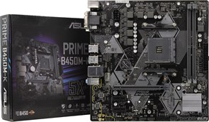 (1019881) Материнская плата Asus PRIME B450M-K Soc-AM4 AMD B450 2xDDR4 mATX AC`97 8ch(7.1) GbLAN RAID+VGA+DVI