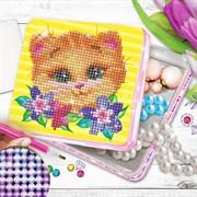 """(1020004) Алмазная вышивка на шкатулке 14*13,6 см """"Котик""""    2694944"""