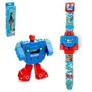 """(1019988) Робот-трансформер """"Робо-часы"""", работает от батареек, цвета МИКС   4505111"""