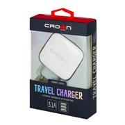 (1020074) Сетевое универсальное зарядное устройство Crown CMWC-3053; три порта зарядки; входное напряжение 100-240В; выходной ток DC USB1: DC 5В—3,1А; USB2/3 DC 5В—1А