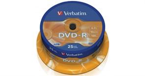 (1021084) Диск DVD-R Verbatim 4.7Gb 16x Cake Box (25шт) Printable (43538)