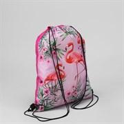 (1020879) Мешок для обуви Фламинго в цветах, 32*0,5*40, отд на шнурке, розовый   4628142