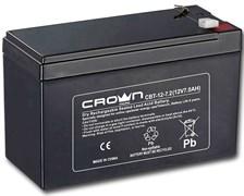 (1021562) Аккумулятор CROWN CBT-12-7.2 (Cвинцово-кислотный, напряжение 12В, ёмкость  7.2 А\Ч, размеры (мм)  151х65х100, вес 2,18 кг, материал корпуса - ABS-пластик, тип клеммы - F2 (Т2), срок службы 6 лет)