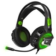 (1021559) Гарнитура игровая с подсветкой CROWN CMGH-3002 Black&green (Подключение jack 3.5мм 4pin + адаптер 2*jack spk+mic + USB для подсветки,Частотный диапазон: 20Гц-20,000 Гц ,Кабель 3.2м, Динамки 50мм, регулировка громкости на чашке+пульте, микр