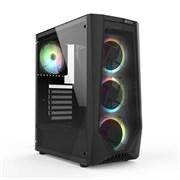 (1021806) Игровой корпус HIPER ORO-4RGB чёрный (ATX, закаленное стекло, RGB fan 4x120 мм, 1xUSB, HD Audio)