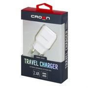 (1021965) Сетевое универсальное зарядное устройство Crown CMWC-3032; два порта зарядки; входное напряжение 100-240В; выходной ток USB1: DC 5В—1А; USB2: DC 5В—2,4А