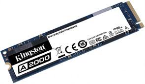 (1021989) Твердотельный накопитель SSD M.2 Kingston 250Gb A2000 Series <SA2000M8/250G> (PCI-E 3.0 x4, up to 2000/1100Mbs, 180000 IOPS, 3D TLC, NVMe, AES-256, 150TBW, 22х80mm)