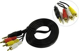 (1022336) Exegate EX284945RUS Кабель аудио ExeGate EX-CCA-4P2R-2.0 (3.5mm Jack M/3xRCA M, 2м)