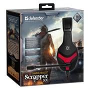 (1023452) Игровая гарнитура Scrapper 500 красный + черный, кабель 2 м DEFENDER