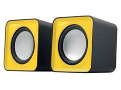 (1023743) CBR CMS 90 Yellow, Акустическая система 2.0, питание USB, 2х3 Вт (6 Вт RMS), материал корпуса пластик, 3.5 мм линейный стереовход, регул. громк., длина кабеля 1 м, цвет жёлтый