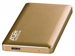 "(1023824) Внешний корпус для HDD AgeStar 3UB2A16 SATA алюминий золотистый 2.5"""