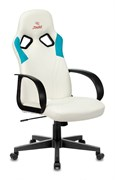 (1024061) Кресло игровое Бюрократ ZOMBIE RUNNER белый/голубой искусственная кожа крестовина пластик