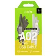 (1021067) Кабель USB Type-C Dotfes A02T Smart LED Indicator (1m) gray