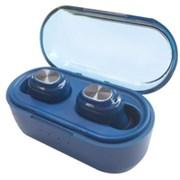 (1024317) Беспроводные наушники CROWN CMTWS-5007 blue (Bluetooth 5.0, батарея в кейсе 300мАч, батарея в наушниках 50мАч, время воспроизведения до 12 часов при использовании зарядного чехла, перемотка треков, вызов голосового помощника)