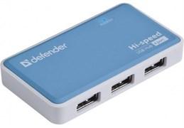 (1024509) Универсальный USB разветвитель Defender Quadro Power USB2.0, 4порта, блок питания2A