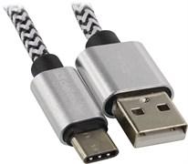 (1024491) Кабель USB USB09-03T PRO USB2.0 Белый, AM-Type-C, 1m, 2.1A DEFENDER