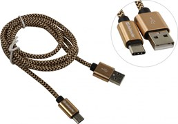 (1024488) Кабель USB USB09-03T PRO USB2.0 Золотой, AM-Type-C, 1m, 2.1A DEFENDER