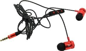 (1024475) Гарнитура для смартфонов Defender Pollaxe черный + красный, кабель 1,2 м