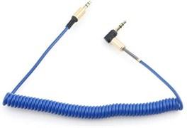 (1024550) Кабель аудио 90˚ спиральный Cablexpert. 3.5 джек (M)/3.5 джек (M), синий, 1.8м, блистер