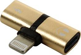 (1014286) Переходник Lightning - Lightning Charging+Lightning EarPods (gold)
