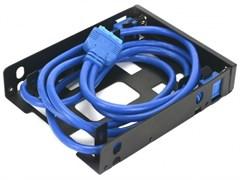 """(1024900) CMU3-B3 Панель с двумя портами USB 3.0 в слот 3.5 компьютерного корпуса. (Два интерфейса USB 3.0 тип + корзина на два устройства 2.5"""";Материал панели: металл;Коннектор 19pin для материнской платы;Длина кабеля 0,8м)"""