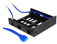 (1024901) CMU3-B5 Панель с двумя портами USB 3.0 в слот 5.25 компьютерного корпуса. (Два интерфейса USB 3.0 + корзина на устройство 1*3.5/2.5 ;Материал панели: пластик;Коннектор 19pin для материнской платы;Длина кабеля 0,8м)