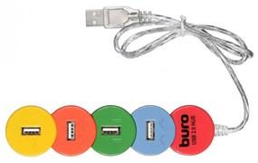 (1024957) Разветвитель USB 2.0 Buro BU-HUB4-0.5-U2.0-Snake 4порт. разноцветный