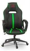 (1024559) Кресло игровое Zombie RUNNER черный/зеленый искусственная кожа крестовина пластик