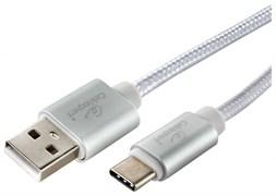 (1025002) Кабель USB 2.0 Cablexpert, AM/TypeC, серия Ultra, длина 1м, серебристый, блистер