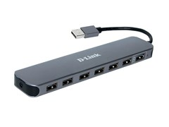 (1024993) Разветвитель USB 2.0 D-Link DUB-H7 7порт. черный (DUB-H7/E1A)