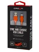 (1025543) Кабель Crown USB - microUSB CMCU-3042M orange; круглый; в тканевой оплётке; коннекторы ПВХ; ток 2А; 100 см; цвет оранжевый