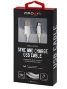 (1025544) Кабель Crown USB - microUSB CMCU-3072M white; круглый; в прочной нейлоновой оплётке; коннекторы Метал; ток 2А; 100 см; цвет белый