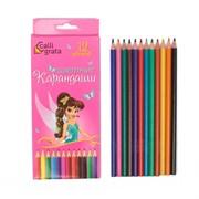 (1025830) Карандаши 12 цветов в картонной коробке CALLIGRATA Принцесса, деревянные, треугольные 1014635