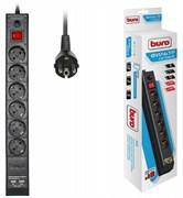 (1025809) Сетевой фильтр Buro BU-SP1.8_USB_2A-B 1.8м (6 розеток) черный (коробка)