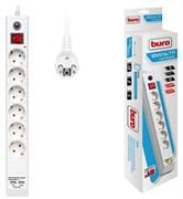 (1025812) Сетевой фильтр Buro BU-SP3_USB_2A-W 3м (6 розеток) белый (коробка)