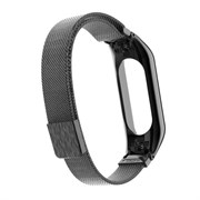 (1022711) Ремешок металлический Миланская петля Krutoff для Xiaomi Mi Band 3/4 (black)