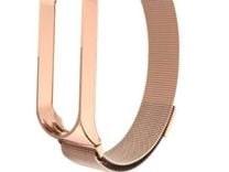 (1022712) Ремешок металлический Миланская петля Krutoff для Xiaomi Mi Band 3/4 (rose gold)