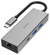 (1026536) Разветвитель USB-C Hama H-200108 4порт. серый (00200108)