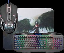 (1026570) Игровой набор Defender Reaper мышь+клавиатура+ковер чёрные (RGB подсветка, 6 кнопок, 2400 dpi, Мембранная, 280 х 230 х 3 мм, ткань/резина, MKP-018 RU)