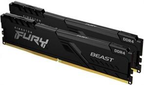 (1026696) Модуль памяти DDR 4 DIMM 32Gb PC25600, 3200Mhz, Kingston FURY Beast Black CL16 (Kit of 2) (KF432C16BB1K2/32) (retail)