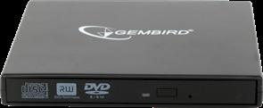 (1026852) Внешний DVD±RW привод с интерфейсом USB 2.0 Gembird DVD-USB-02 пластик, черный