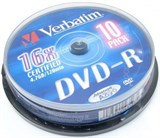 (1002518) Диск DVD-R Verbatim 4.7Gb 16x Cake Box (10шт) 43523