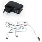 (1001781) Зарядное ус-во (с кабелями) microUSB/Apple Lightning для цифр технки 2А от сети KS-is Jich (KS-206)