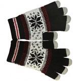 (116181) Перчатки для сенсорных экранов Human Friends Fiver Black, Универсальный размер, черные с узором
