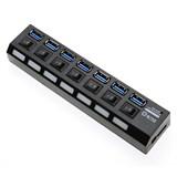 (118904) Концентратор 5bites HB37-303PBK, 7 x USB3.0, внешний блок питания, индивидуальные переключатели питания с индикацией, Черный