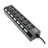 (118898) Концентратор 5bites HB27-203PBK, 7 x USB2.0, внешний блок питания, индивидуальные переключатели питания с индикацией, Черный